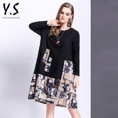 Y:Q - Printed Panel Long-Sleeve Shift Dress