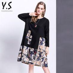 Y:Q - 印花拼接長袖直筒連衣裙
