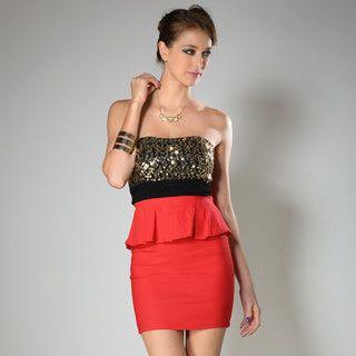 YesStyle Z - Strapless Sequined Peplum Bodycon Dress