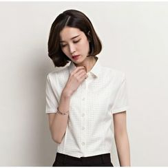 KOKA - 短袖拼接西装衬衫