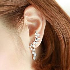 Nanazi Jewelry - Sterling Silver CZ Leaf Earrings
