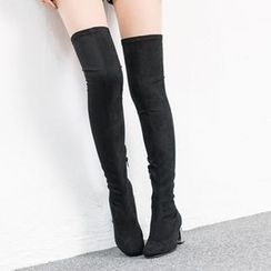 VIVIER - Faux-Suede Zip-Up High Boots