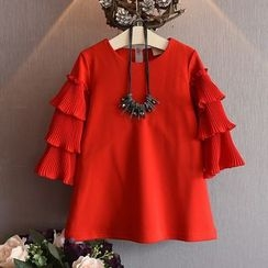 Spring Swallow - Kids Long-Sleeve Pleated Dress