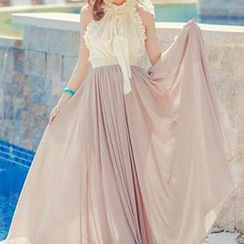 Jolly Club - Set: Sleeveless Frilled Top + Maxi Skirt
