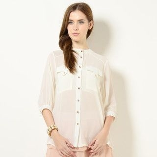 59 Seconds - Pocket-Front Chiffon Blouse