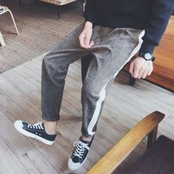 JUN.LEE - Contrast Trim Corduroy Harem Pants