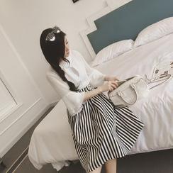 Glen Glam - Set : Bell-Sleeve Chiffon Top + Pinstriped Skirt