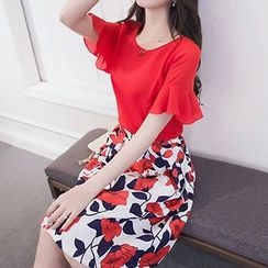 Queen Bee - Set: Frilled Short Sleeve Chiffon Top + Floral Print A-Line Skirt