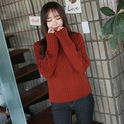 Envy Look - Turtle-Neck Oversized-Sleeve Knit Top