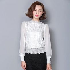 Lovebirds - Long-Sleeve Lace Panel Blouse