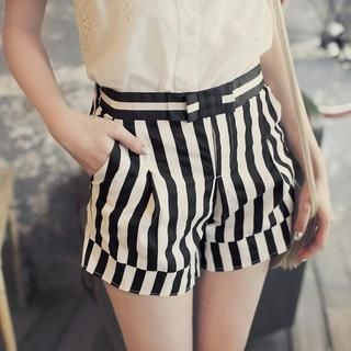 Tokyo Fashion - Bow-Accent Striped Shorts