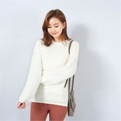 Styleberry - Faux-Pearl Accent Knit Top