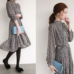 NIPONJJUYA - Mock-Neck Patterned Chiffon Dress with Sash