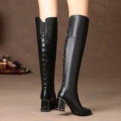 Romantina - Block Heel Tall Boots