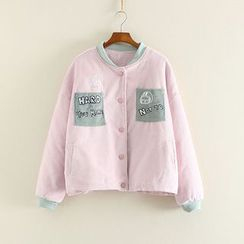 Mushi - Applique Corduroy Baseball Jacket