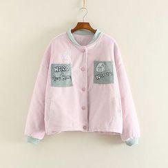 三木社 - 貼布繡燈芯絨棒球夾克