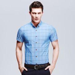 RUYA - Short-Sleeve Check Shirt