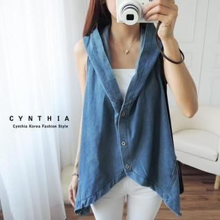 CYNTHIA - Diagonal-Hem Hooded Denim Vest
