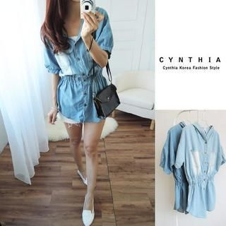 CYNTHIA - Gathered-Waist Hooded Denim Shirt