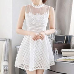 Fashion Street - Sleeveless Lace Panel Party Dress