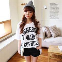 Cocopop - Elbow-Sleeve Lettering T-Shirt