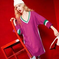 ELF SACK - Long-Sleeve V-Neck Contrast-Stripe Dress