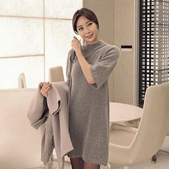 Seoul Fashion - Elbow-Sleeve Wool Blend Knit Mini Dress