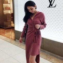 Seoul Fashion - Asymmetric-Hem Wrap-Front Long Dress