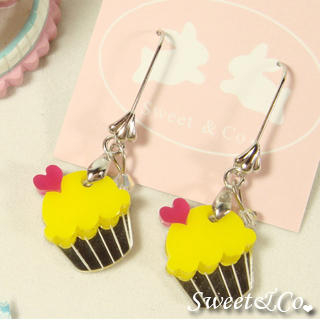 Sweet & Co. - Mini Yellow Cupcake Crystal Silver Earrings