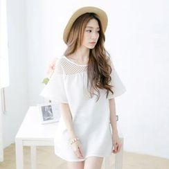 Tokyo Fashion - Mesh Yoke Short-Sleeve Top with Necklace