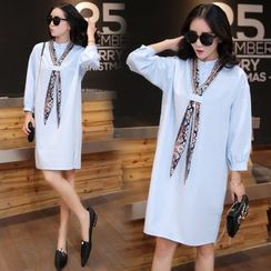 VIZZI - Stand Collar Long-Sleeve Dress with Patterned Scarf