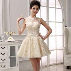 Bridal Workshop - Sleeveless Sheer Yoke Mini Prom Dress