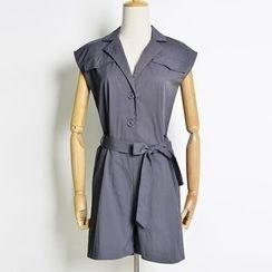 AIGIL - Cap-Sleeve Tie-Waist Playsuit