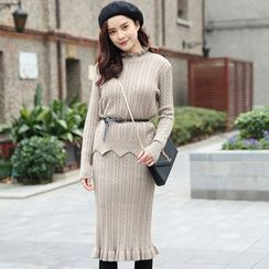 Kofushi - Set: Scallop Hem Frilled Neck Cable-Knit Sweater + Midi Skirt