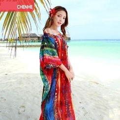 Morning Dew - V领印花沙滩裙