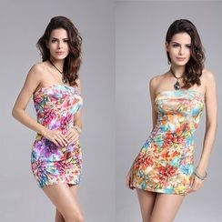 Hotprint - Floral Print Bandeau Mini Dress