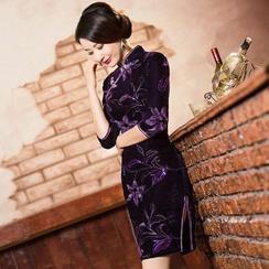Maura Qipao - 3/4-Sleeve Floral Cheongsam