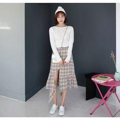 Miamasvin - Asymmetric Frill-Hem Plaid Long Skirt