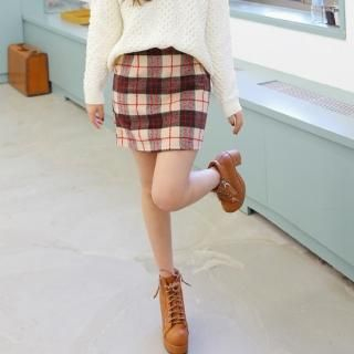 Cocopop - Tartan-Check Wool-Blend Miniskirt
