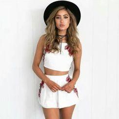 Hanni - Set: Cropped Embroidered Camisole Top + Elastic Waist Shorts
