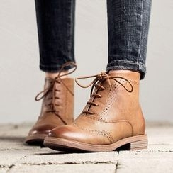 MIAOLV - Brogue Lace Up Ankle Boots