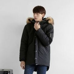 Seoul Homme - Faux-Fur Trim Hooded Padded Jacket