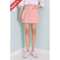 MICHYEORA - Pocket-Side A-Line Mini Skirt