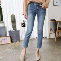 Hello sweety - Slit-Trim Straight-Cut Jeans