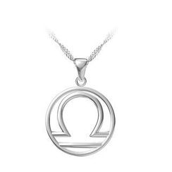 BELEC - 925 Sterling Silver Libra Pendant with Necklace