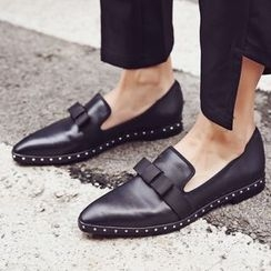 JY Shoes - Bow Accent Loafers