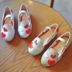 BOOM Kids - Kids Heart Applique Glitter Loafers