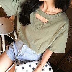 Rocho - Cutout Short-Sleeve T-shirt