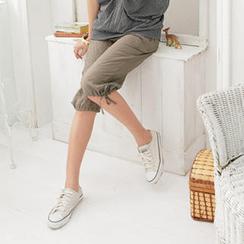 RingBear - 罗纹裤头绑带丝绸五分裤