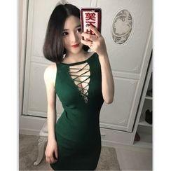 Yohana - 前镂空针织背心裙